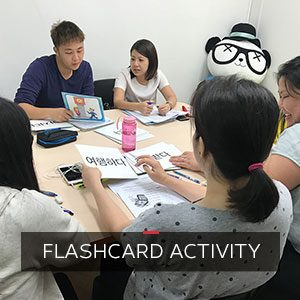 Flashcards activity at ONLYOU Korean Language School
